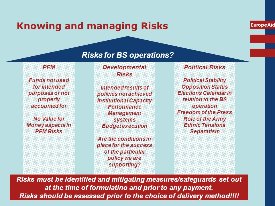 EuropeAid Knowing and managing Risks Risks for BS operations? Risks must be identified and mitigating measures/safeguards set out at the time of formu