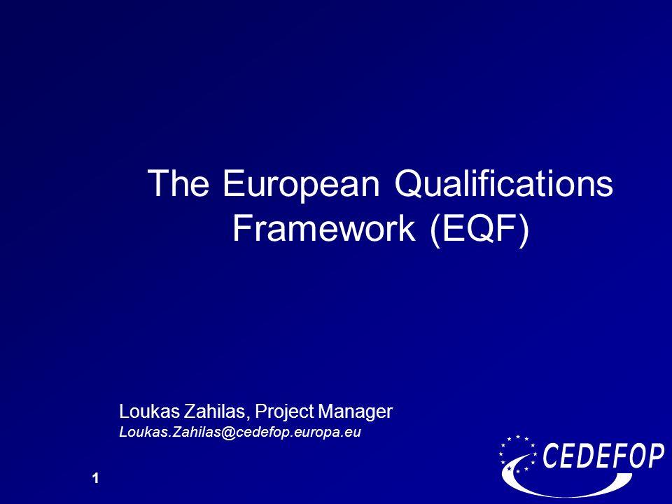 1 The European Qualifications Framework (EQF) Loukas Zahilas, Project Manager Loukas.Zahilas@cedefop.europa.eu
