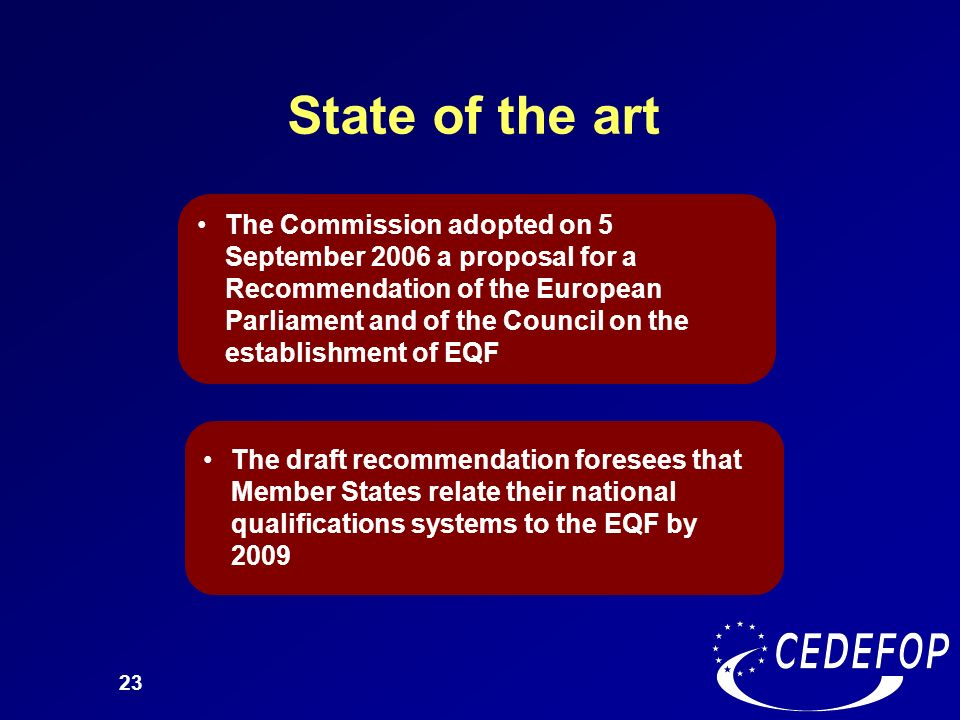 23 State of the art The Commission adopted on 5 September 2006 a proposal for a Recommendation of the European Parliament and of the Council on the es