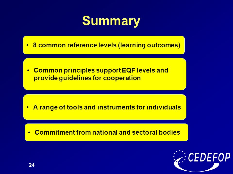 24 Summary 8 common reference levels (learning outcomes) Common principles support EQF levels and provide guidelines for cooperation A range of tools