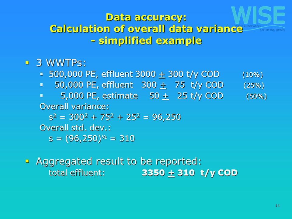 14 Data accuracy: Calculation of overall data variance - simplified example 3 WWTPs: 3 WWTPs: 500,000 PE, effluent 3000 + 300 t/y COD (10%) 500,000 PE, effluent 3000 + 300 t/y COD (10%) 50,000 PE, effluent 300 + 75 t/y COD (25%) 50,000 PE, effluent 300 + 75 t/y COD (25%) 5,000 PE, estimate 50 + 25 t/y COD (50%) 5,000 PE, estimate 50 + 25 t/y COD (50%) Overall variance: s 2 = 300 2 + 75 2 + 25 2 = 96,250 Overall std.