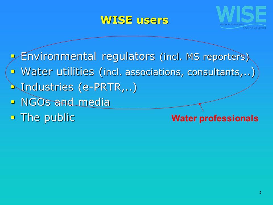 3 WISE users Environmental regulators (incl. MS reporters) Environmental regulators (incl.