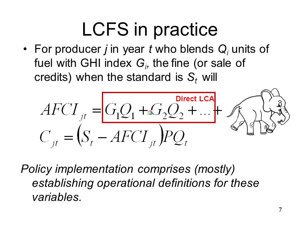 7 LCFS in practice For producer j in year t who blends Q i units of fuel with GHI index G i, the fine (or sale of credits) when the standard is S t will be: Policy implementation comprises (mostly) establishing operational definitions for these variables.