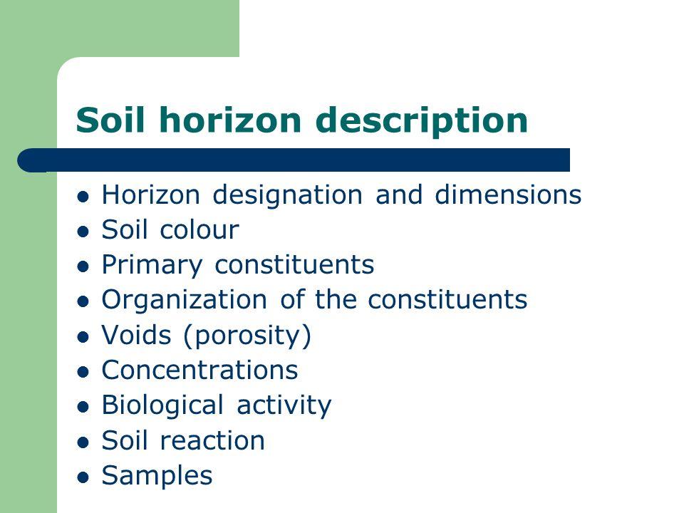Soil horizon description Horizon designation and dimensions Soil colour Primary constituents Organization of the constituents Voids (porosity) Concent