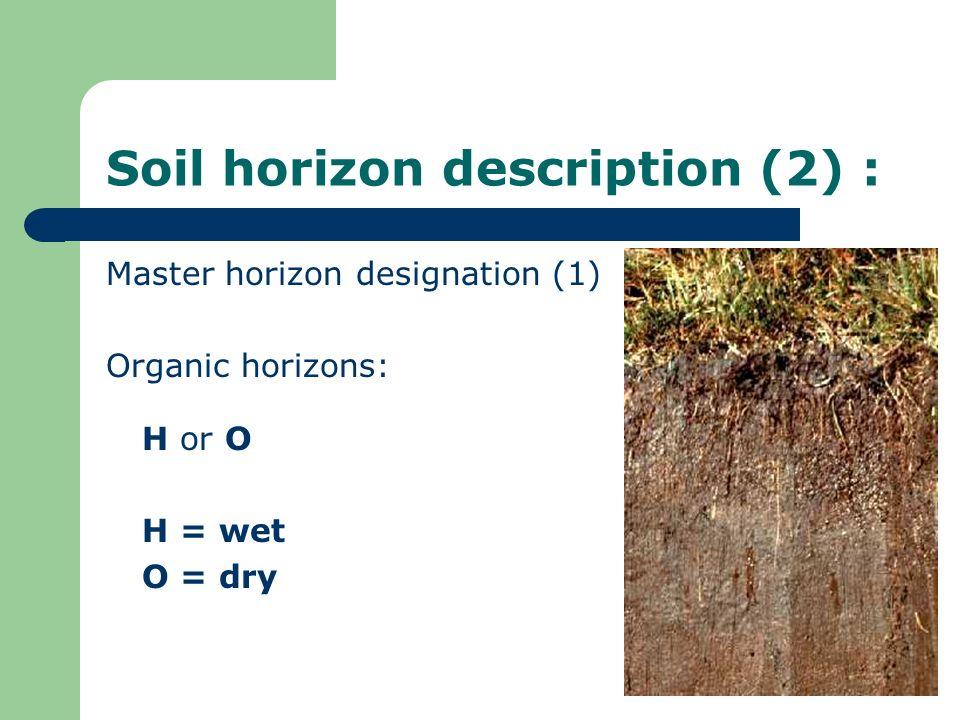 Soil horizon description (2) : Master horizon designation (1) Organic horizons: H or O H = wet O = dry