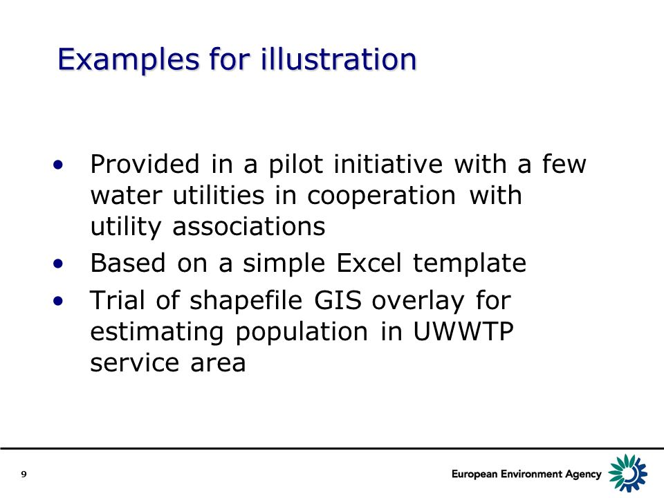 9 Examples for illustration Provided in a pilot initiative with a few water utilities in cooperation with utility associations Based on a simple Excel template Trial of shapefile GIS overlay for estimating population in UWWTP service area