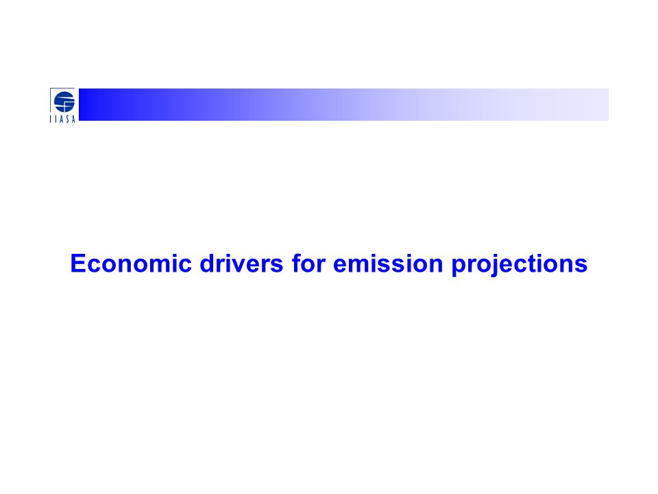 Economic drivers for emission projections