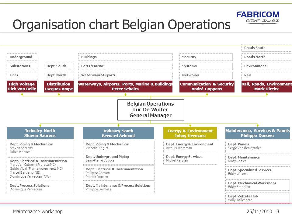 Maintenance workshop25/11/2010 | 3 Organisation chart Belgian Operations Belgian Operations Luc De Winter General Manager Waterways, Airports, Ports,