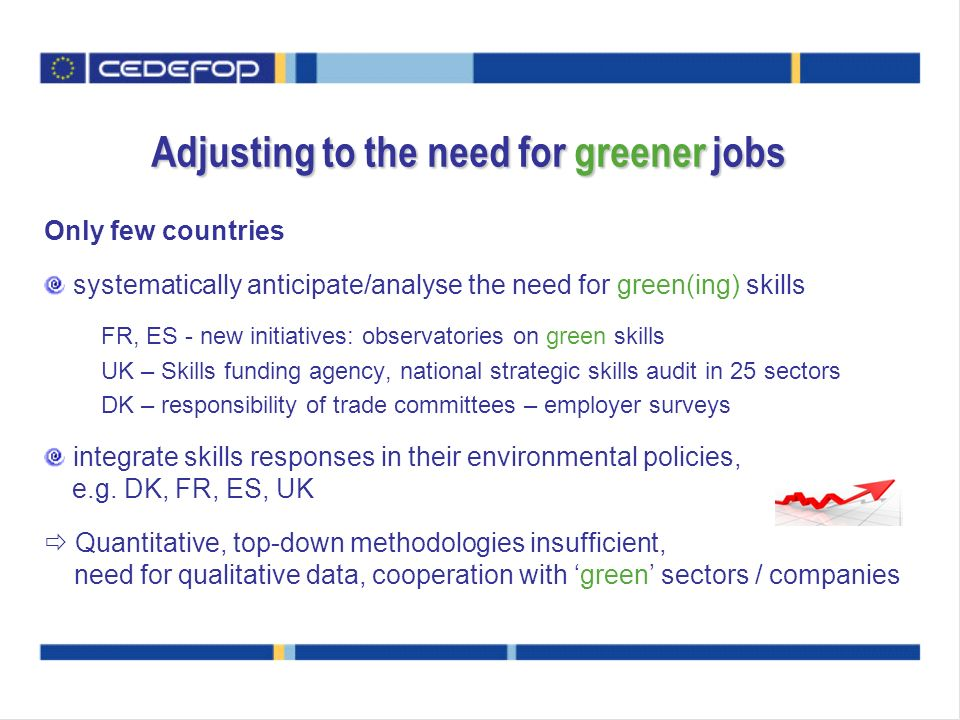 Adjusting to the need for greener jobs Only few countries systematically anticipate/analyse the need for green(ing) skills FR, ES - new initiatives: o