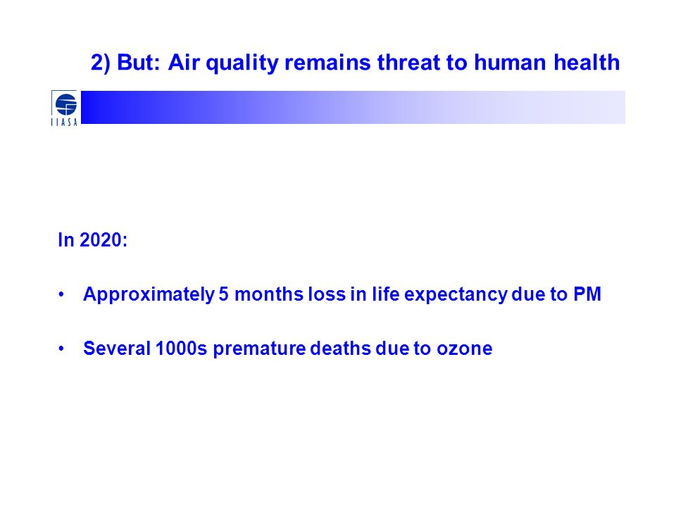 2) But: Air quality remains threat to human health In 2020: Approximately 5 months loss in life expectancy due to PM Several 1000s premature deaths due to ozone