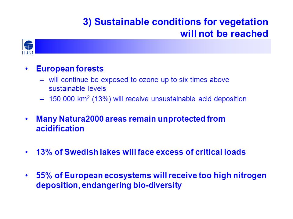 3) Sustainable conditions for vegetation will not be reached European forests –will continue be exposed to ozone up to six times above sustainable levels –150.000 km 2 (13%) will receive unsustainable acid deposition Many Natura2000 areas remain unprotected from acidification 13% of Swedish lakes will face excess of critical loads 55% of European ecosystems will receive too high nitrogen deposition, endangering bio-diversity