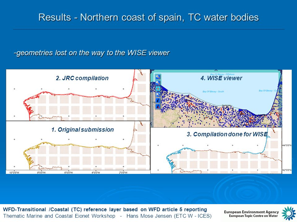 WFD-Transitional /Coastal (TC) reference layer based on WFD article 5 reporting Thematic Marine and Coastal Eionet Workshop - Hans Mose Jensen (ETC W - ICES) Results - Northern coast of spain, TC water bodies - geometries lost on the way to the WISE viewer 4.