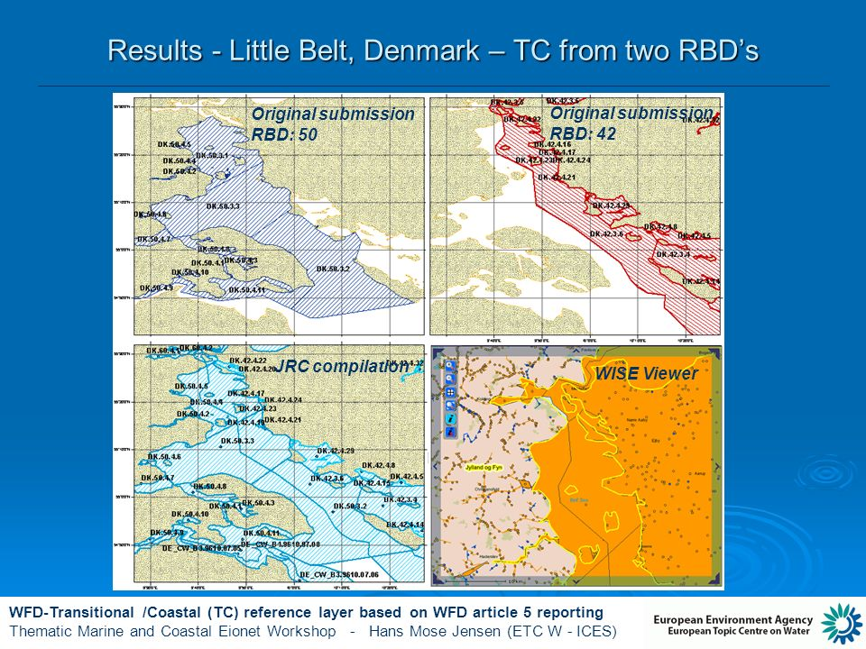 WFD-Transitional /Coastal (TC) reference layer based on WFD article 5 reporting Thematic Marine and Coastal Eionet Workshop - Hans Mose Jensen (ETC W - ICES) Results - Little Belt, Denmark – TC from two RBDs Original submission RBD: 50 Original submission RBD: 42 JRC compilation WISE Viewer