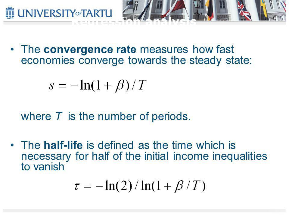 The convergence rate measures how fast economies converge towards the steady state: where T is the number of periods.