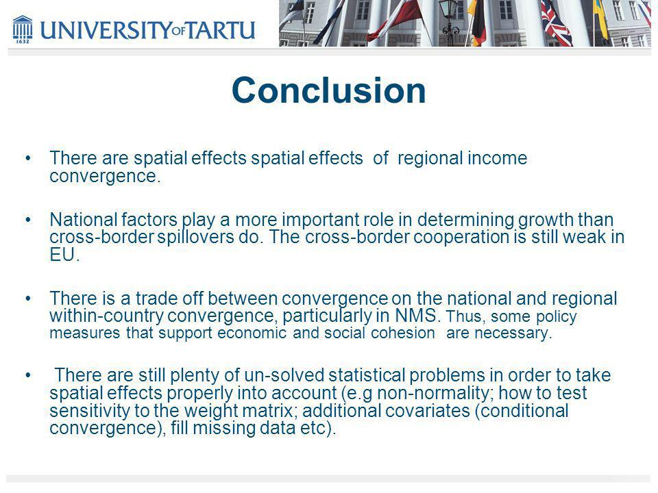 Conclusion There are spatial effects spatial effects of regional income convergence.