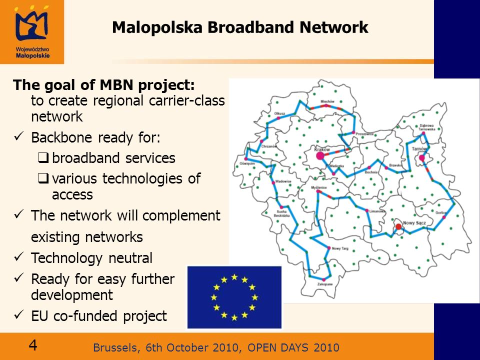Brussels, 6th October 2010, OPEN DAYS 2010 Malopolska Broadband Network The goal of MBN project: to create regional carrier-class network Backbone rea
