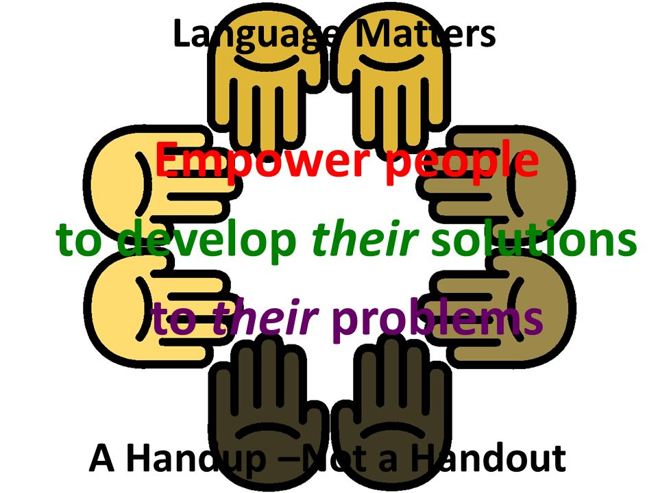 Empower people to develop their solutions to their problems Language Matters A Handup –Not a Handout