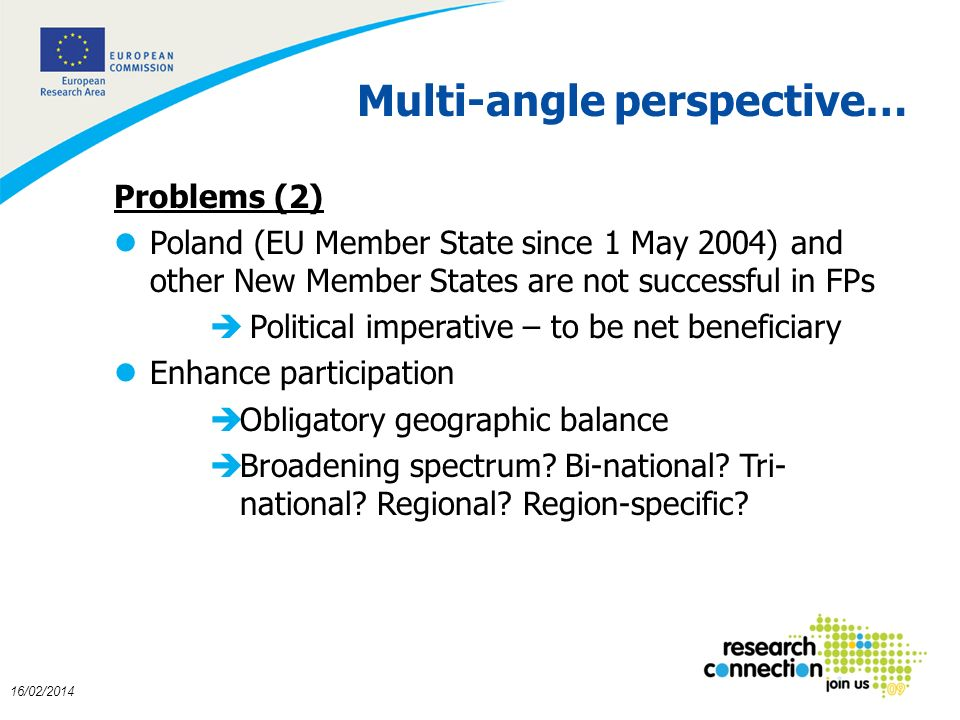 7 16/02/2014 Multi-angle perspective… Problems (2) lPoland (EU Member State since 1 May 2004) and other New Member States are not successful in FPs è