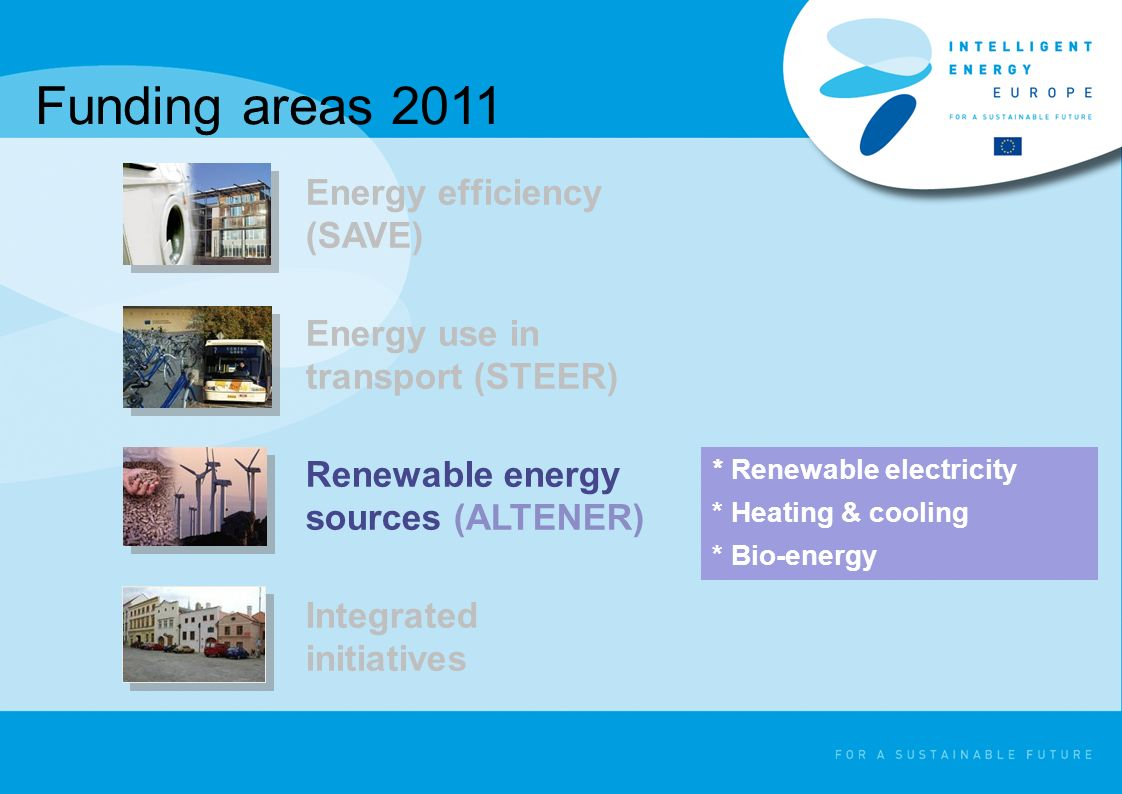 Funding areas 2011 * Renewable electricity * Heating & cooling * Bio-energy Energy efficiency (SAVE) Energy use in transport (STEER) Renewable energy sources (ALTENER) Integrated initiatives