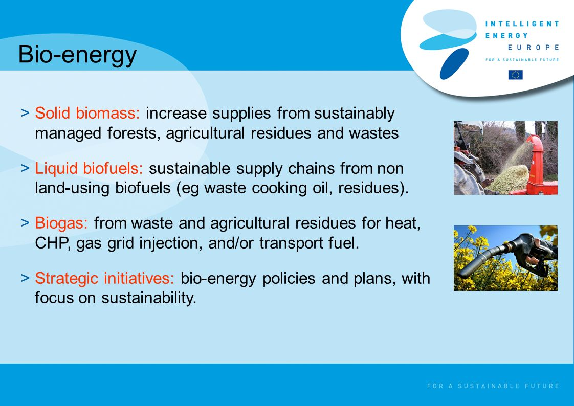 Bio-energy >Solid biomass: increase supplies from sustainably managed forests, agricultural residues and wastes >Liquid biofuels: sustainable supply c