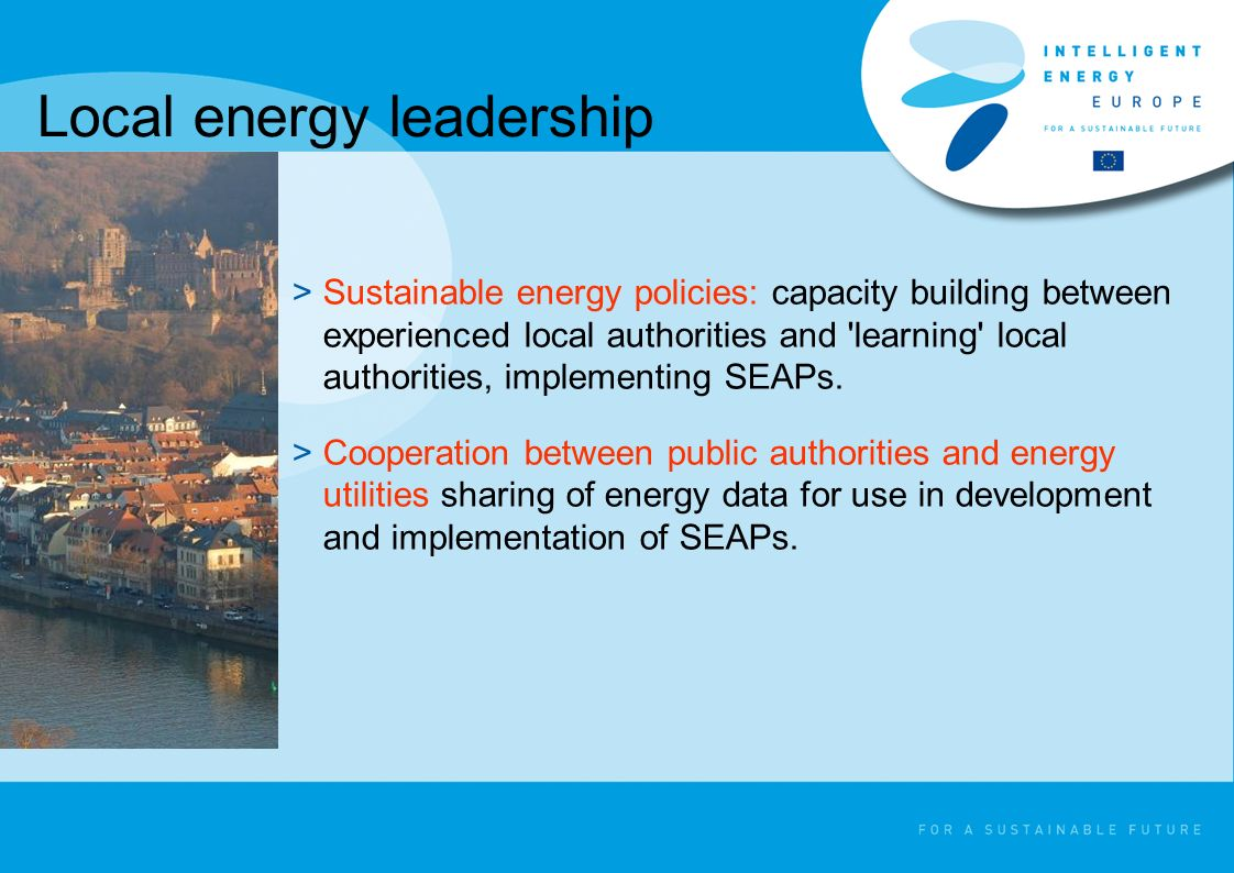 >Sustainable energy policies: capacity building between experienced local authorities and learning local authorities, implementing SEAPs.
