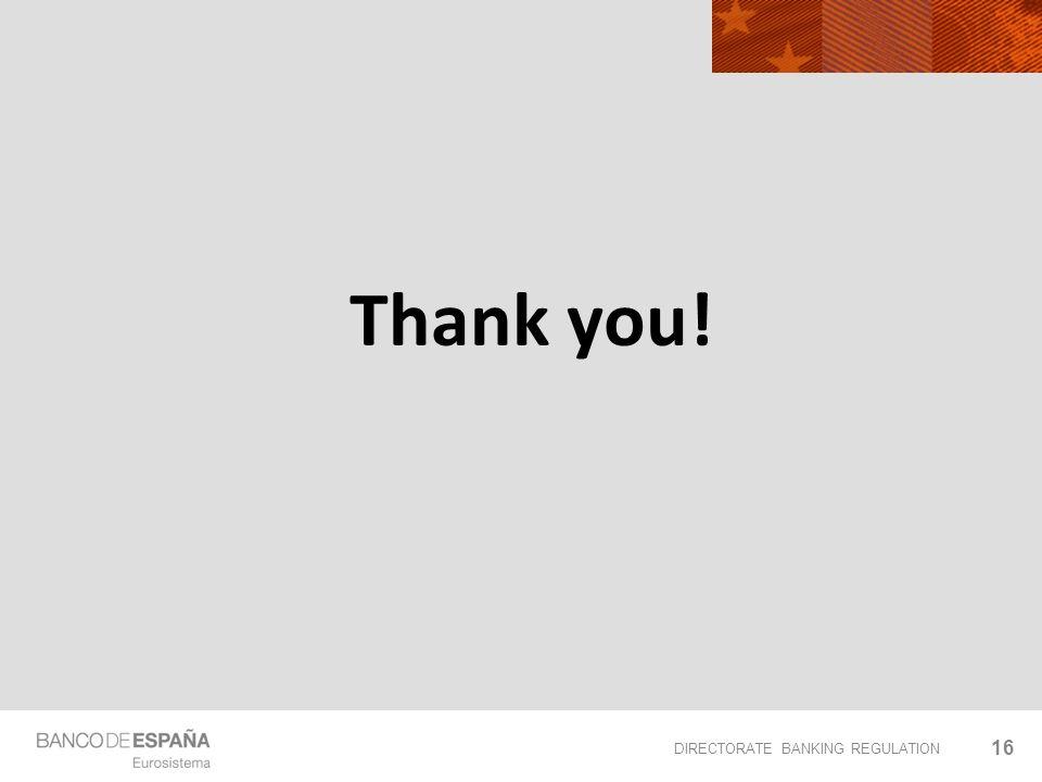 DIRECTORATE BANKING REGULATION Thank you! 16