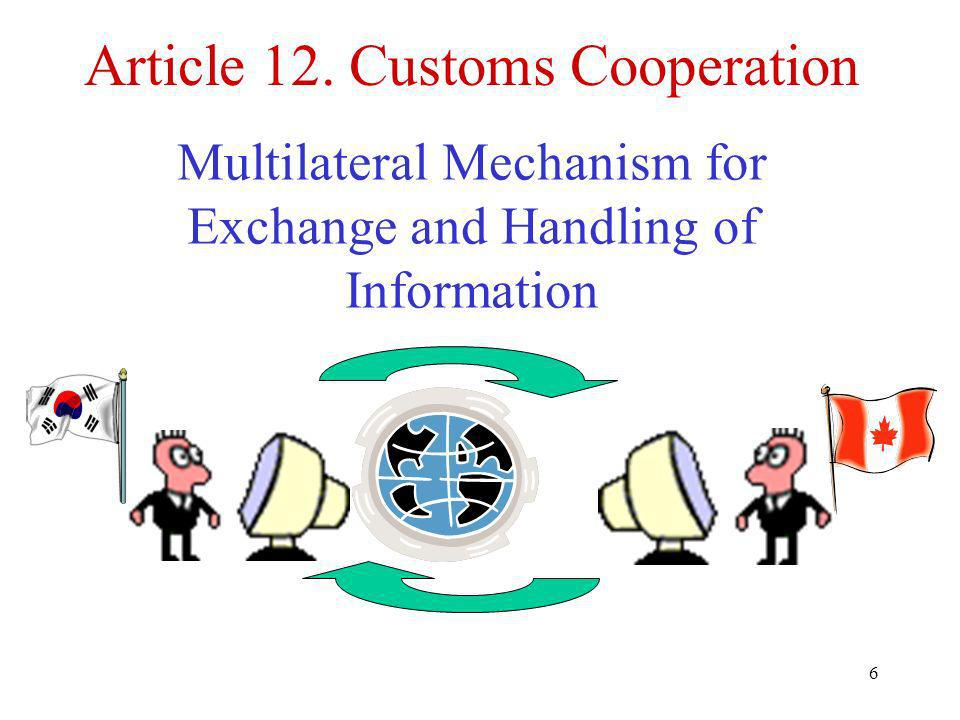6 Article 12. Customs Cooperation Multilateral Mechanism for Exchange and Handling of Information