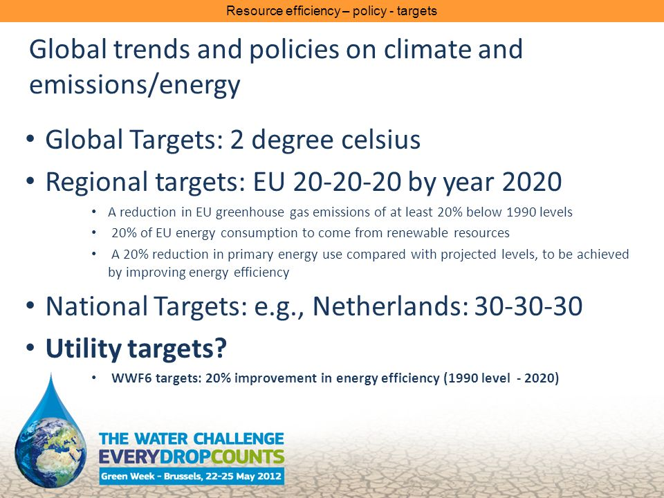 Global trends and policies on climate and emissions/energy Global Targets: 2 degree celsius Regional targets: EU by year 2020 A reduction in EU greenhouse gas emissions of at least 20% below 1990 levels 20% of EU energy consumption to come from renewable resources A 20% reduction in primary energy use compared with projected levels, to be achieved by improving energy efficiency National Targets: e.g., Netherlands: Utility targets.