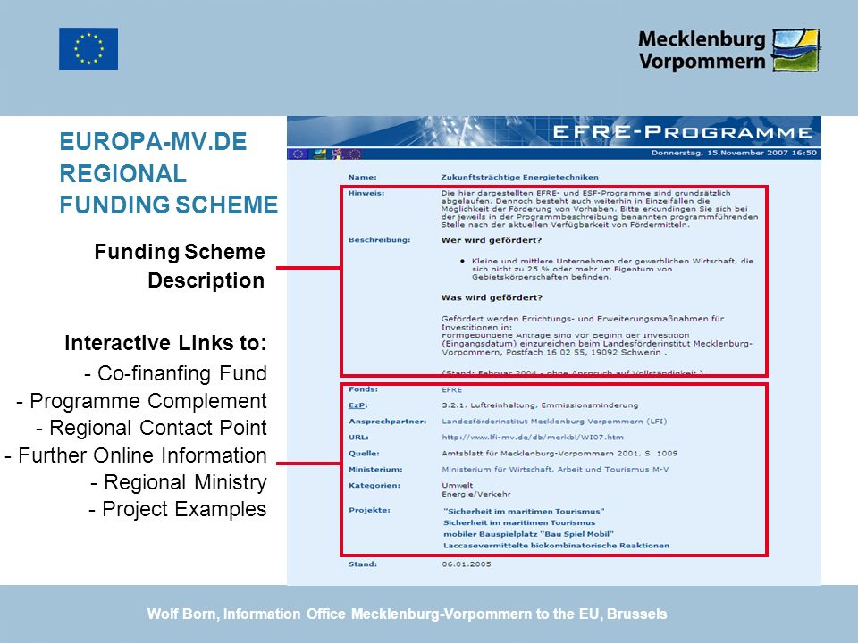 EUROPA-MV.DE REGIONAL FUNDING SCHEME Interactive Links to: - Co-finanfing Fund - Programme Complement - Regional Contact Point - Further Online Inform