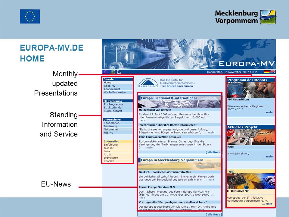 EUROPA-MV.DE HOME EU-News Standing Information and Service Monthly updated Presentations