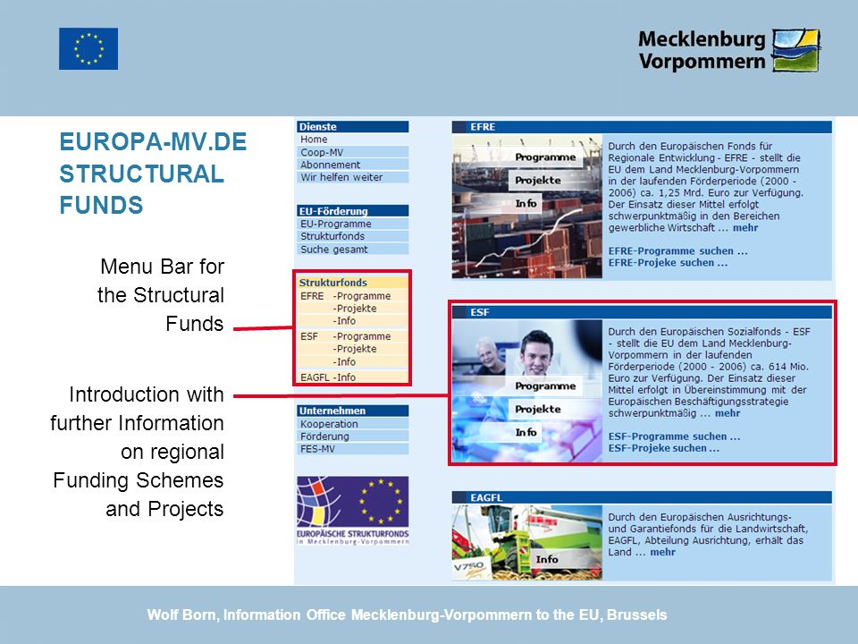 EUROPA-MV.DE STRUCTURAL FUNDS Introduction with further Information on regional Funding Schemes and Projects Menu Bar for the Structural Funds Wolf Bo