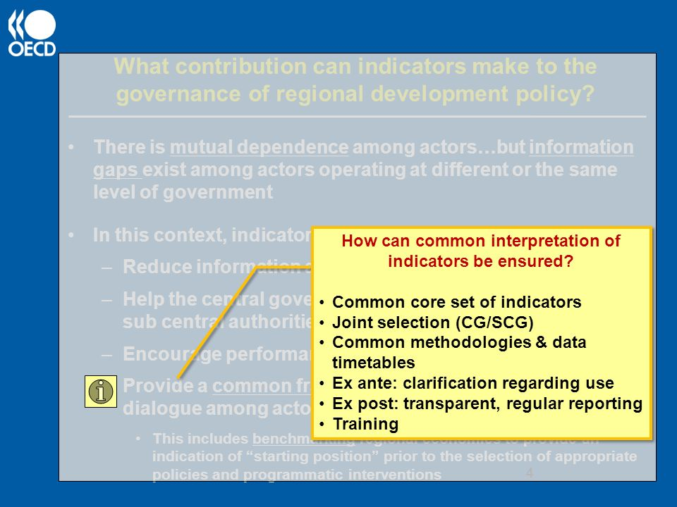 What contribution can indicators make to the governance of regional development policy.