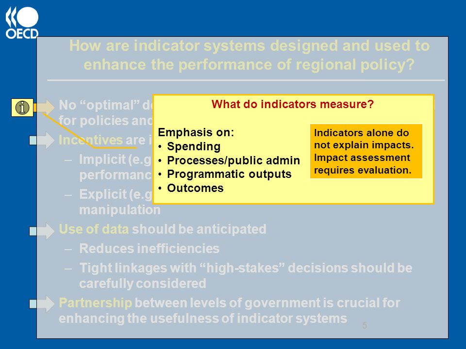 How are indicator systems designed and used to enhance the performance of regional policy.