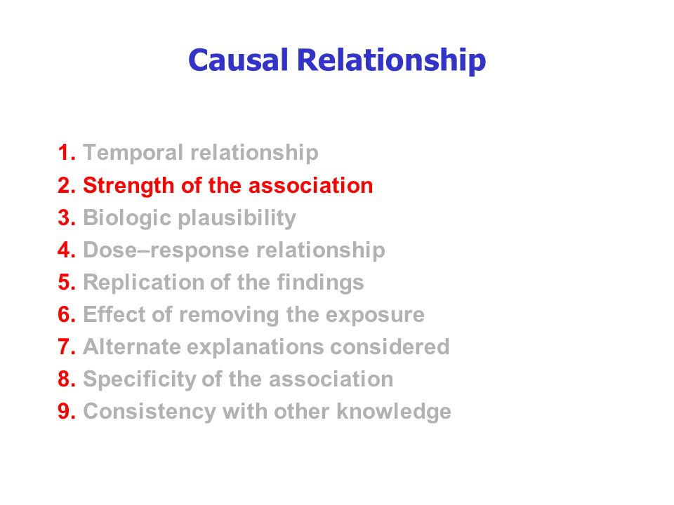 Causal Relationship 1.Temporal relationship 2.Strength of the association 3.Biologic plausibility 4.Dose–response relationship 5.Replication of the findings 6.Effect of removing the exposure 7.Alternate explanations considered 8.Specificity of the association 9.Consistency with other knowledge