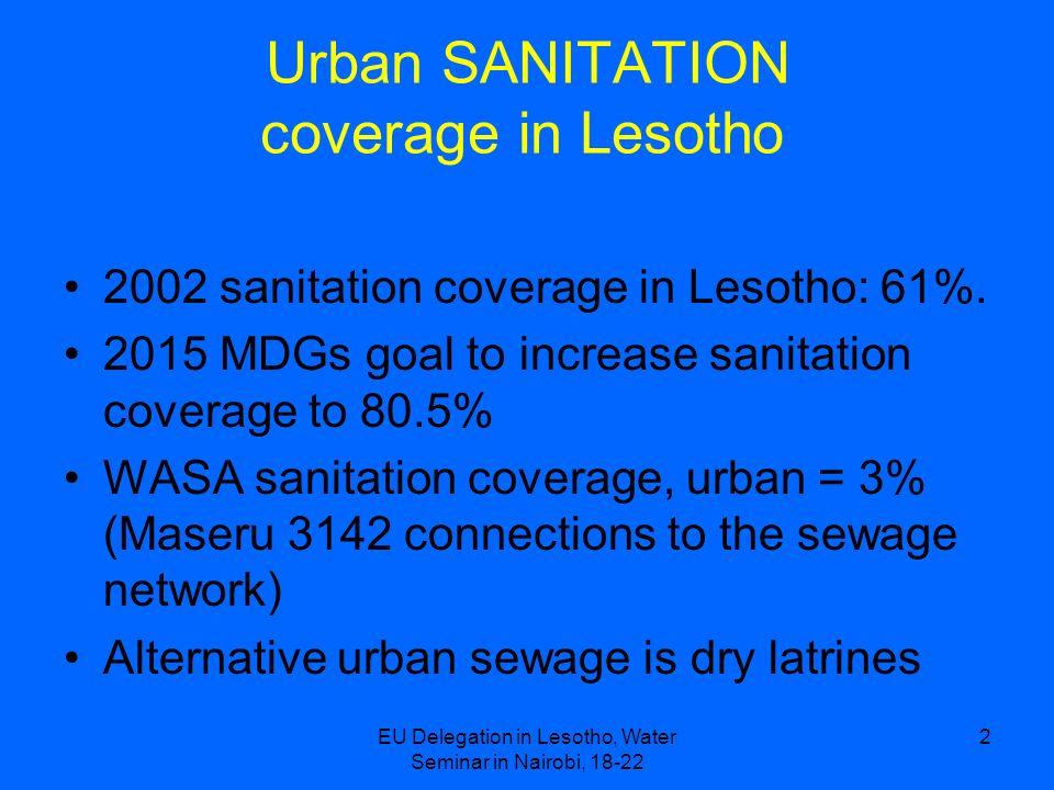 EU Delegation in Lesotho, Water Seminar in Nairobi, 18-22 2 Urban SANITATION coverage in Lesotho 2002 sanitation coverage in Lesotho: 61%. 2015 MDGs g