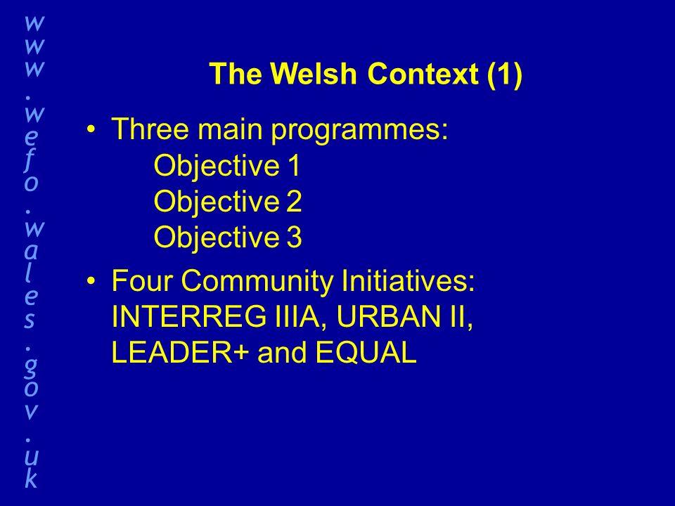 The Welsh Context (1) Three main programmes: Objective 1 Objective 2 Objective 3 Four Community Initiatives: INTERREG IIIA, URBAN II, LEADER+ and EQUAL www.wefo.wales.gov.ukwww.wefo.wales.gov.uk