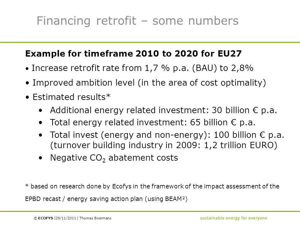 © ECOFYS | | Financing retrofit – some numbers Example for timeframe 2010 to 2020 for EU27 Increase retrofit rate from 1,7 % p.a. (BAU) to 2,8% Improv