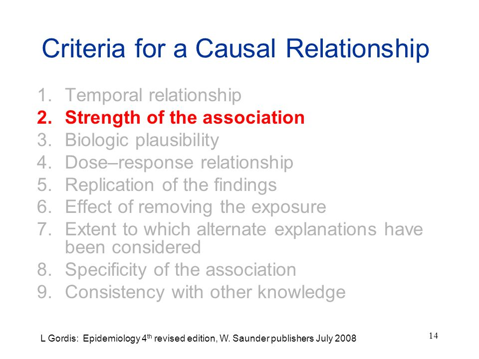 14 Criteria for a Causal Relationship 1.Temporal relationship 2.Strength of the association 3.Biologic plausibility 4.Dose–response relationship 5.Rep