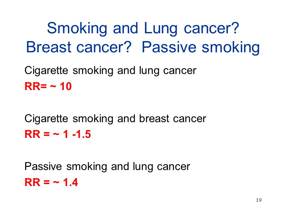 19 Smoking and Lung cancer? Breast cancer? Passive smoking Cigarette smoking and lung cancer RR= ~ 10 Cigarette smoking and breast cancer RR = ~ 1 -1.