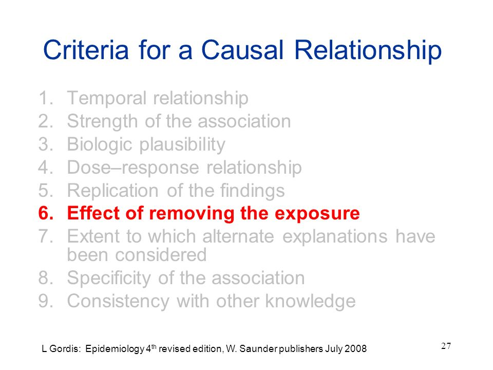 27 Criteria for a Causal Relationship 1.Temporal relationship 2.Strength of the association 3.Biologic plausibility 4.Dose–response relationship 5.Rep