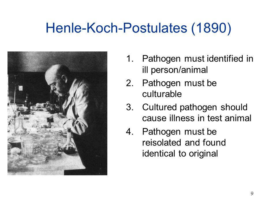 9 Henle-Koch-Postulates (1890) 1. Pathogen must identified in ill person/animal 2. Pathogen must be culturable 3. Cultured pathogen should cause illne
