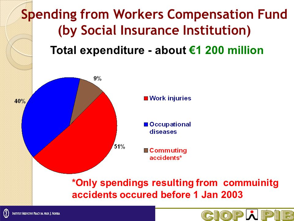 Total expenditure - about million Spending from Workers Compensation Fund (by Social Insurance Institution) *Only spendings resulting from commuinitg accidents occured before 1 Jan 2003
