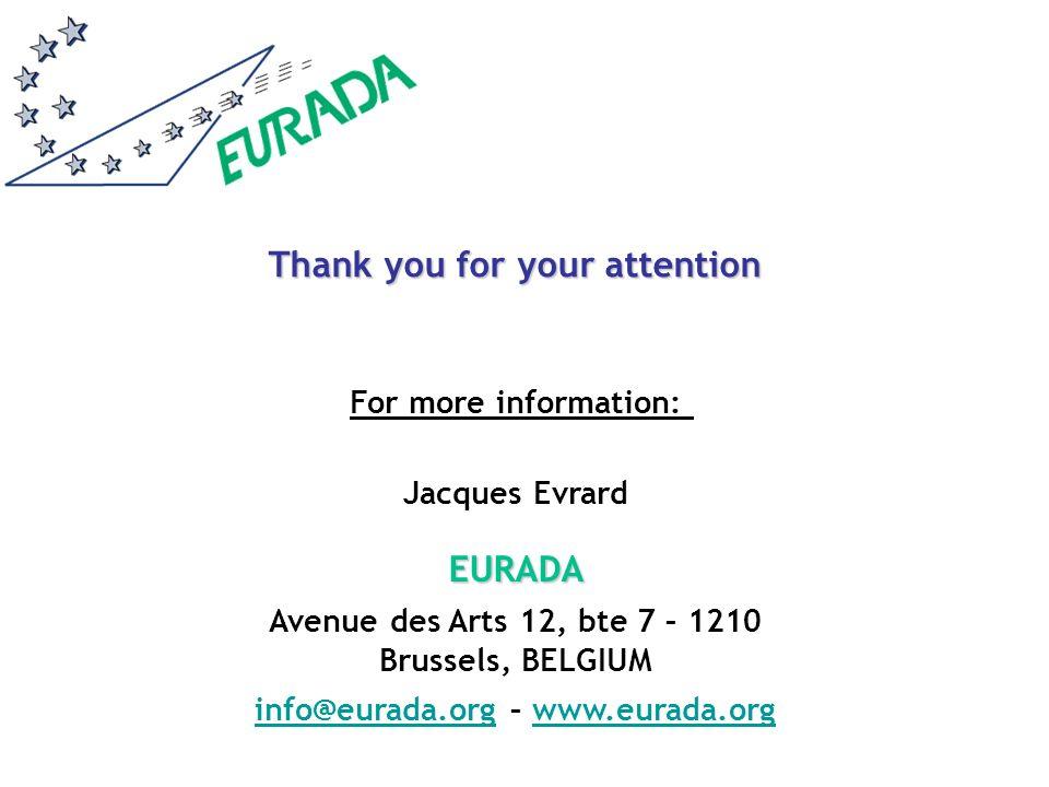 Jacques EvrardEURADA Avenue des Arts 12, bte 7 – 1210 Brussels, BELGIUM info@eurada.orginfo@eurada.org – www.eurada.orgwww.eurada.org For more information: Thank you for your attention