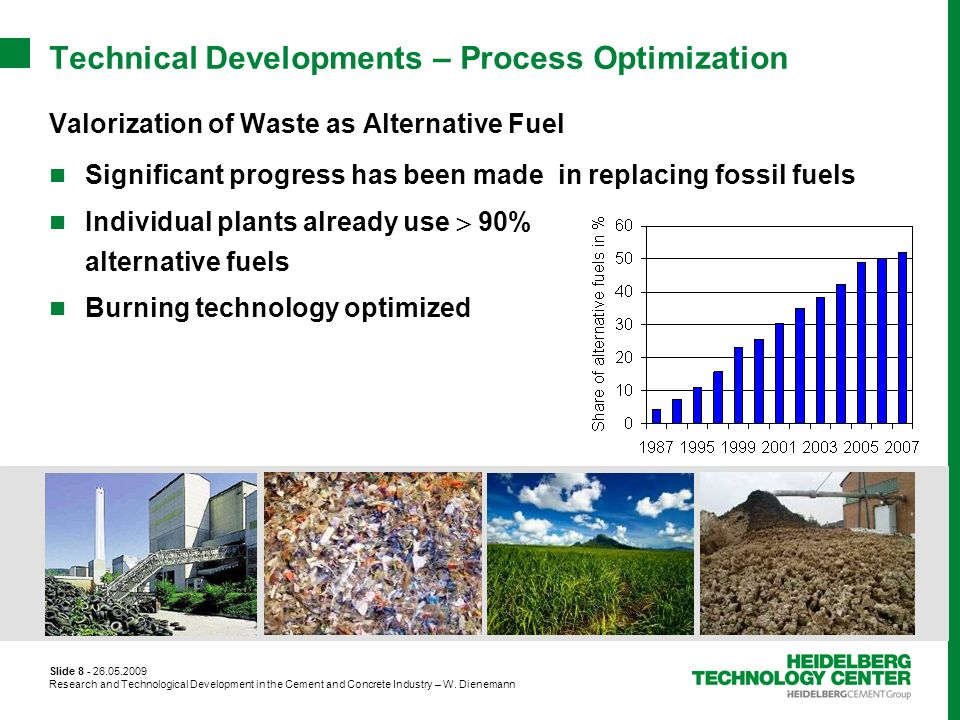 Slide 8 - 26.05.2009 Research and Technological Development in the Cement and Concrete Industry – W. Dienemann Technical Developments – Process Optimi
