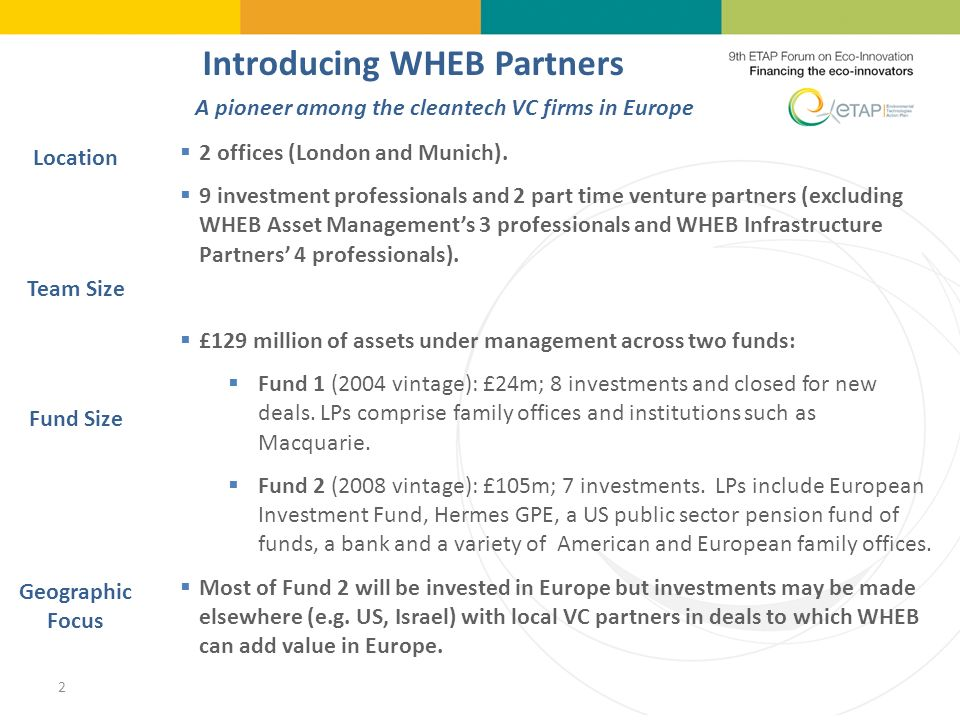2 Introducing WHEB Partners 2 offices (London and Munich).