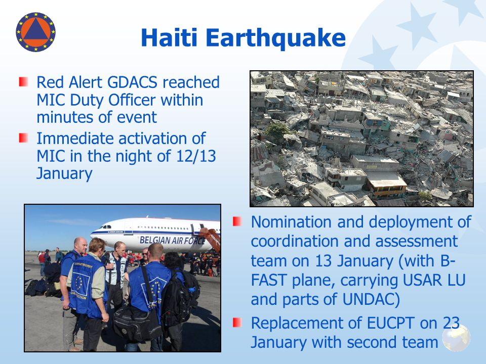 Haiti Earthquake Red Alert GDACS reached MIC Duty Officer within minutes of event Immediate activation of MIC in the night of 12/13 January Nomination