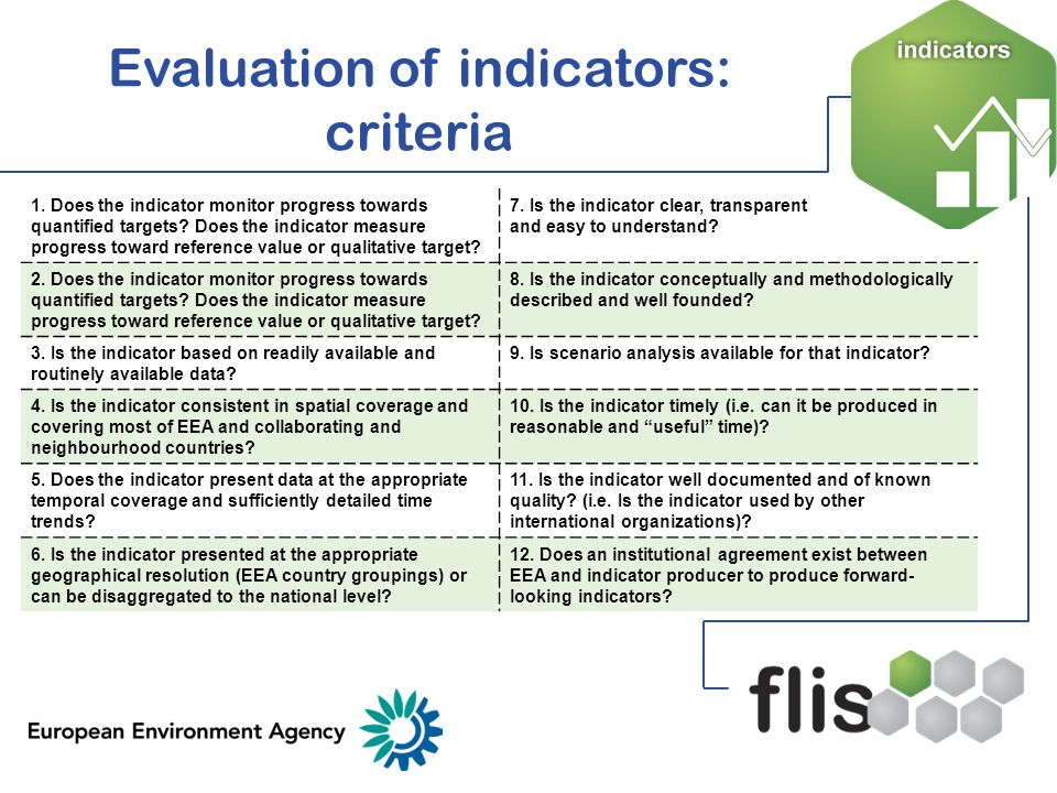 Evaluation of indicators: criteria 1. Does the indicator monitor progress towards quantified targets? Does the indicator measure progress toward refer
