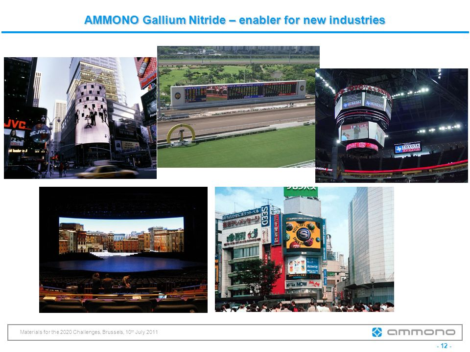 - 12 - Materials for the 2020 Challenges, Brussels, 10 th July 2011 AMMONO Gallium Nitride – enabler for new industries
