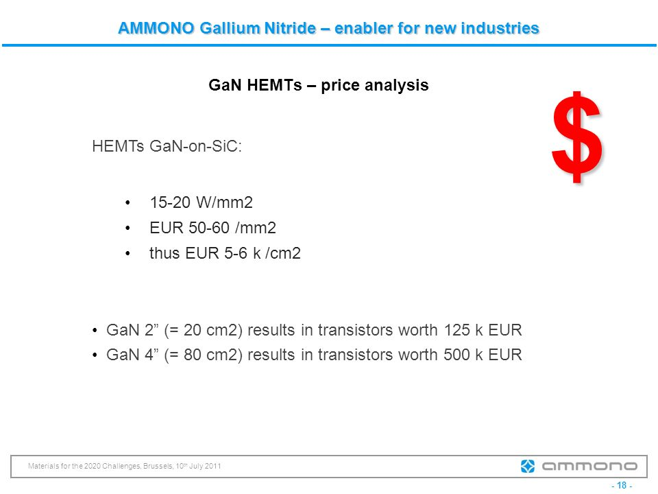 - 18 - Materials for the 2020 Challenges, Brussels, 10 th July 2011 AMMONO Gallium Nitride – enabler for new industries GaN HEMTs – price analysis HEM