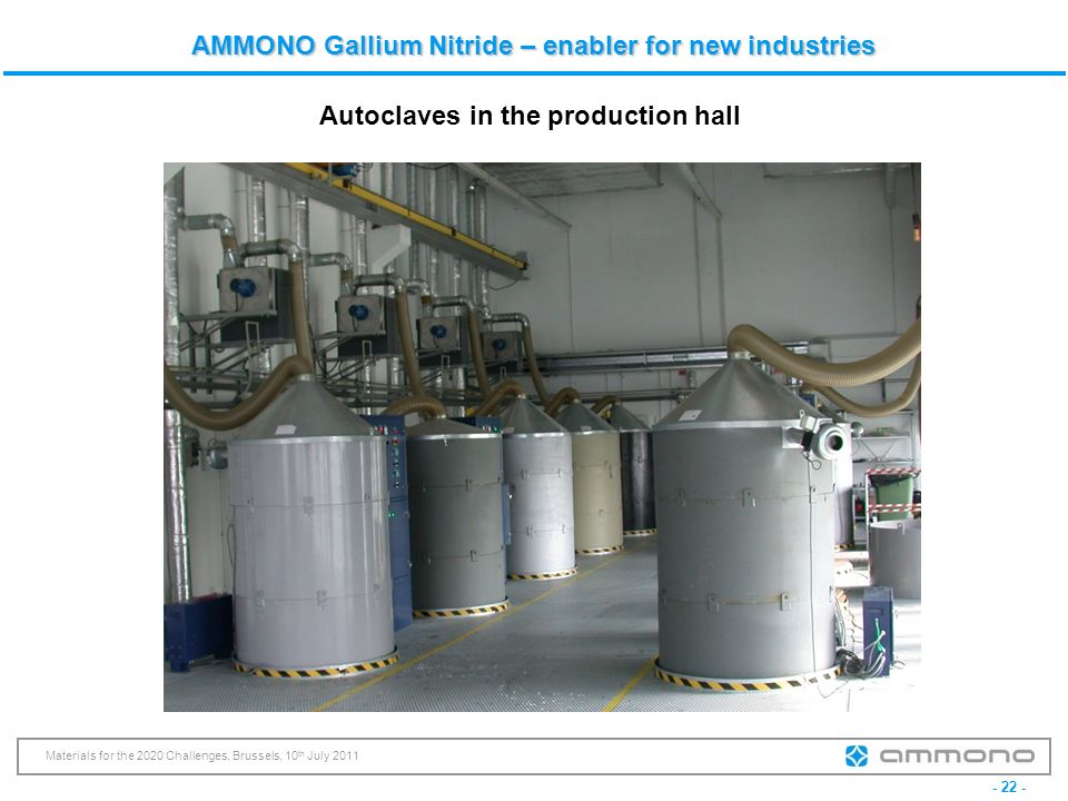 - 22 - Materials for the 2020 Challenges, Brussels, 10 th July 2011 AMMONO Gallium Nitride – enabler for new industries Autoclaves in the production h